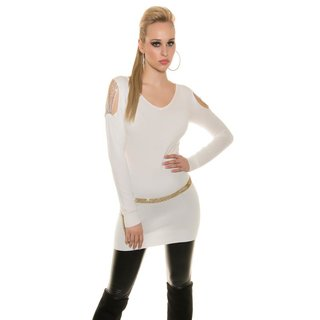 Elegant fine-knitted long sweater with rhinestones white Onesize (UK 8,10,12)