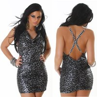 SEXY WATERFALL MINIDRESS IN REPTILE-LOOK PARTY BLACK/SILVER