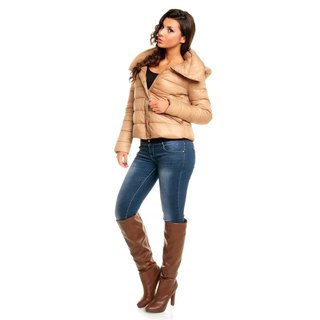 LIGHT PADDED QUILTED JACKET BLOUSON WITH HOOD BEIGE