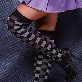 Elegant opaque overknee stockings checkers black/grey
