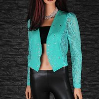 Elegant crocheted lace bolero with rhinestones green UK...