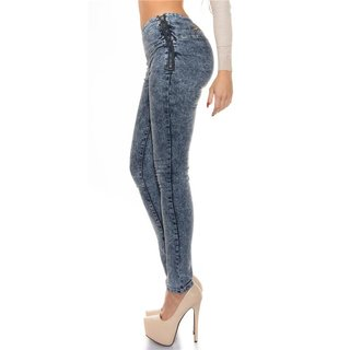 Sexy Highwaist Röhrenjeans Jeans Acid Washed Dunkelblau