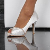 EDLE SATIN PEEP-TOES PUMPS MIT STRASS ABENDSCHUHE WEISS