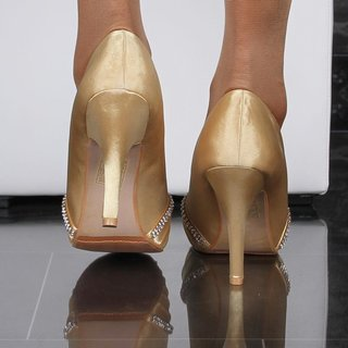 Glamorous satin peep toes pumps with rhinestones gold UK 3.5