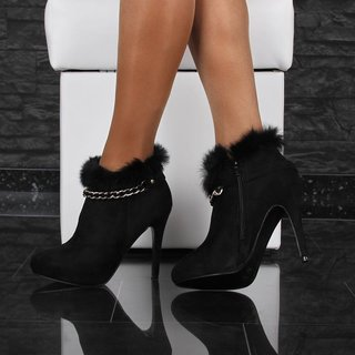 Elegant velour ankle boots shoes with fake fur black