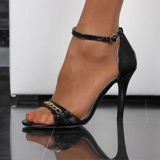 Elegant sandals in glossy patent leather look with ankle strap black