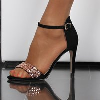 ELEGANT SANDALS MADE OF VELOUR WITH ANKLE STRAP BLACK