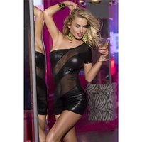 Sexy one-shoulder club mini dress in wet look clubwear black