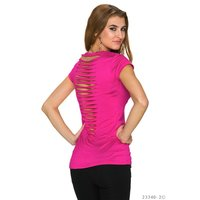 SEXY SHORT-SLEEVED SHIRT WITH RIFTS AT THE BACK FUCHSIA