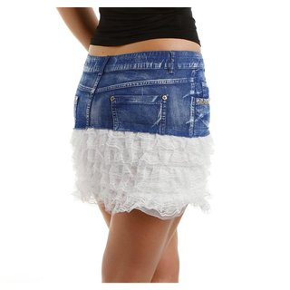 SEXY MINISKIRT IN JEANS LOOK WITH LACE FRILLS DARK BLUE/WHITE