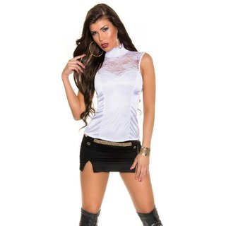 Noble glamour top made of satin with lace and zipper white