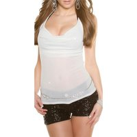 SEXY GLAMOUR PARTY HALTERNECK TOP WITH GLITTER EFFECTS CREAM