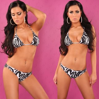 SEXY PUSH-UP BIKINI MIT STRASS-SCHNALLEN BEACHWEAR ZEBRA