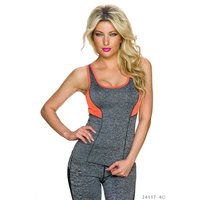 SEXY SPORT TANKTOP SPORTSWEAR GREY/NEON-ORANGE