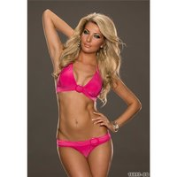 Sexy halterneck bikini with rings beachwear fuchsia...