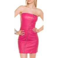 SEXY BANDEAU MINIDRESS IMITATION LEATHER  WITH ZIPPER...