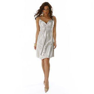 GLAMOUR SATIN EVENING DRESS SILVER