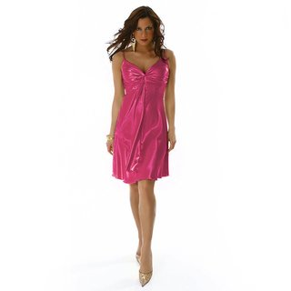 GLAMOUR SATIN EVENING DRESS FUCHSIA