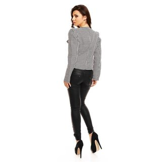 WAISTED BLAZER JACKET WITH HOUNDSTOOTH PATTERN BLACK/WHITE