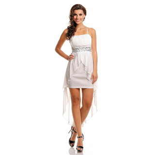 Noble evening dress with chiffon veil incl. stole white