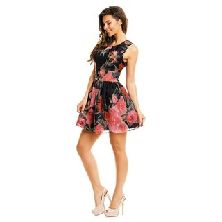 Sweet A-line chiffon mini dress with floral design babydoll black