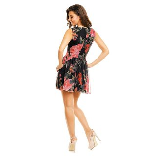 SWEET A-LINE CHIFFON MINIDRESS WITH FLORAL DESIGN BABYDOLL BLACK