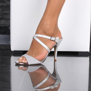 SEXY SLING SANDALS HIGH HEELS IN REPTILE-LOOK SILVER
