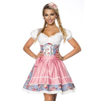 EXCLUSIVE 3 PCS DIRNDL COSTUME DRESS MADE OF DENIM BLUE/PINK