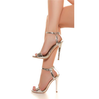 SEXY HIGH HEEL SANDALS IN GLOSSY PATENT LEATHER LOOK SILVER