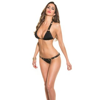 SEXY HALTERNECK BIKINI WITH RIVETS BEACHWEAR BLACK