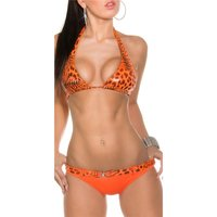 Sexy halterneck bikini beachwear in leopard look orange...