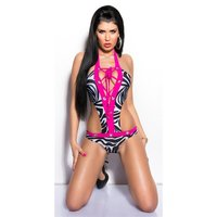 Sexy glamour monokini with lacing beachwear zebra/fuchsia...
