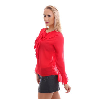 ELEGANT CHIFFON BLOUSE TRANSPARENT WITH BOW TIE AND FLOUNCES RED