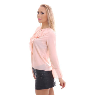 ELEGANT CHIFFON BLOUSE TRANSPARENT WITH BOW TIE AND FLOUNCES PINK