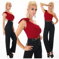 SEXY ONE-SHOULDER OVERALL JUMPSUIT WITH BELT WINE-RED/BLACK