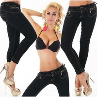 SKINNY BLACK DENIM LADIES JEANS WITH CONTRASTING SEAMS BLACK