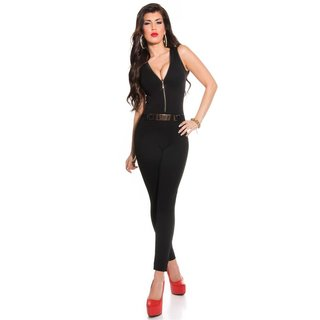 SEXY SLEEVELESS OVERALL JUMPSUIT WITH ZIPPER AND BELT BLACK