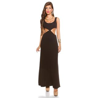 Langes Goddess-Look Maxi-Abendkleid mit Cut-Outs Schwarz