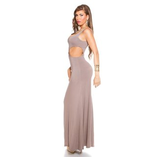 LANGES GODDESS-LOOK MAXI-ABENDKLEID MIT CUT-OUTS CAPPUCCINO