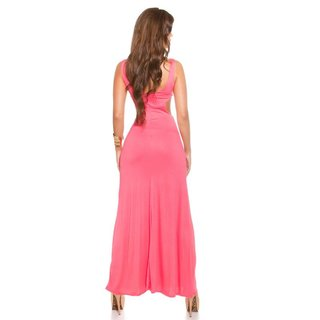 Langes Goddess-Look Maxi-Abendkleid mit Cut-Outs Coral