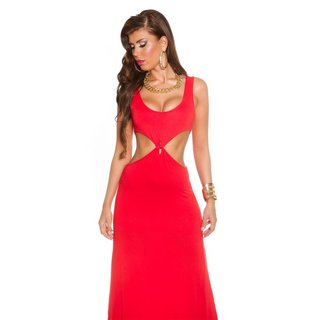 LANGES GODDESS-LOOK MAXI-ABENDKLEID MIT CUT-OUTS ROT