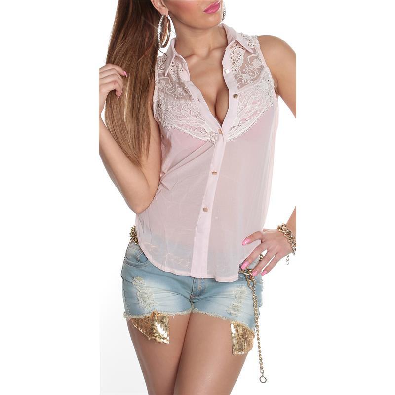 Sleeveless blouse made of transparent chiffon, 24,95