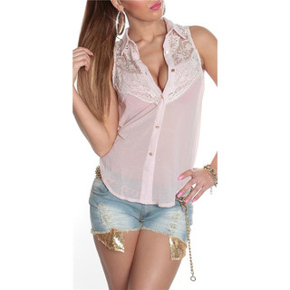 ELEGANT SLEEVELESS CHIFFON-BLOUSE WITH LACE TRANSPARENT PINK
