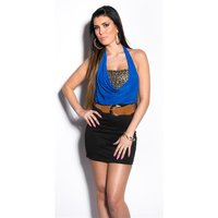 ELEGANT 2-IN-1 HALTERNECK MINIDRESS WITH BELT BLUE/BLACK