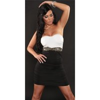 SEXY STRAPLESS BI-COLOUR MINIDRESS PARTY DRESS BLACK/WHITE