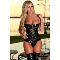 SEXY CORSET IN PATENT LEATHER-LOOK WET LOOK WITH LACING...
