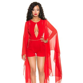 SEXY SHORT OVERALL PLAYSUIT WITH LONG CHIFFON SLEEVES RED