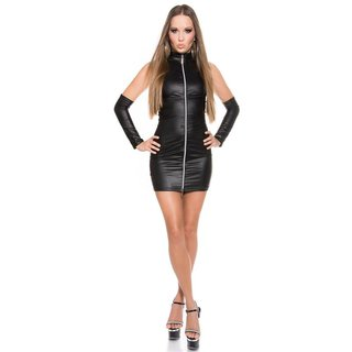 Sexy club mini dress with zipper + gauntlets wet look gogo black Onesize (UK 8,10,12)