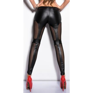 SEXY LEGGINGS IN GLOSSY WET LOOK WITH MESH CLUBWEAR BLACK