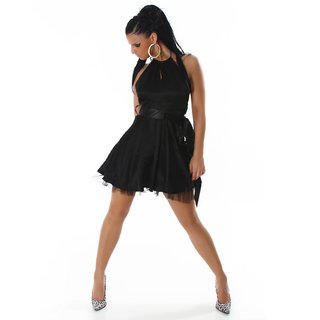 ELEGANT SATIN EVENING DRESS WITH TULLE BLACK